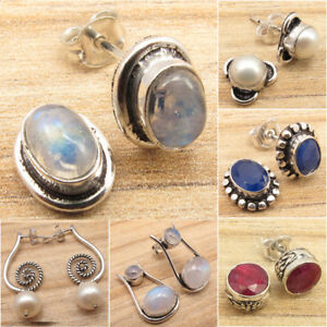 Stud-Earrings-Many-Gemstones-Many-Styles-925-Silver-Plated-Fashion-Jewelry