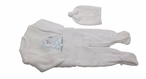 White Crochet New Born Baby Set Blue Baby Bear Three piece includes a hat