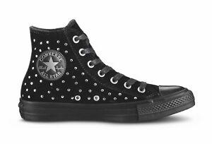 Converse CTAS HI BLACK VELOUR velluto nero 558991c romantic punk micro borchie