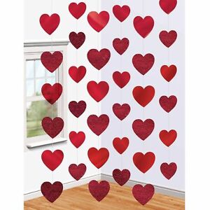 6-x-7ft-Red-Heart-String-Valentines-Day-Decorations-Engagement-Wedding-Party-NEW