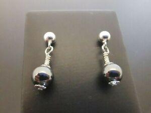 925 Silver 6mm Hematite Bead Dangle Earrings