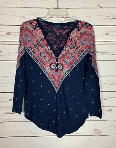 Lucky-Brand-Women-039-s-S-Small-Navy-Boho-Long-Sleeve-Cute-Fall-Top-Blouse-Shirt-Tee