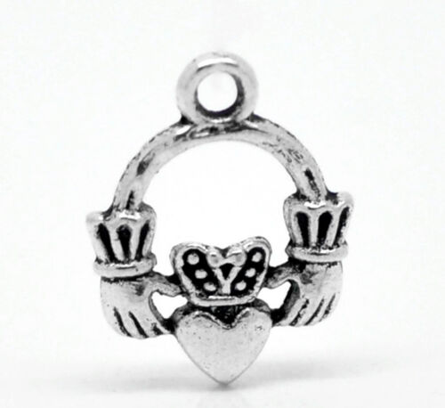 """Gift Wholesale Silver Tone Claddagh Ring Charm Pendants 18x14mm 6//8/""""x 4//8/"""""""