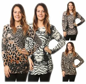 Ladies-Women-s-Fluffy-Knitted-Animal-Print-Stretched-Sweater-Tops-Jumper-10-14