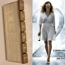 Rare Vtg Chanel Gold Bar Metallic Logo SITC Carrie Minaudiere Clutch Bag