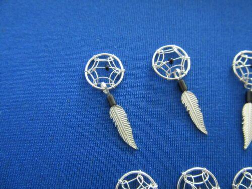 Sterling Silver Dream Catcher Bijoux Making Perles Noires Lot de 10