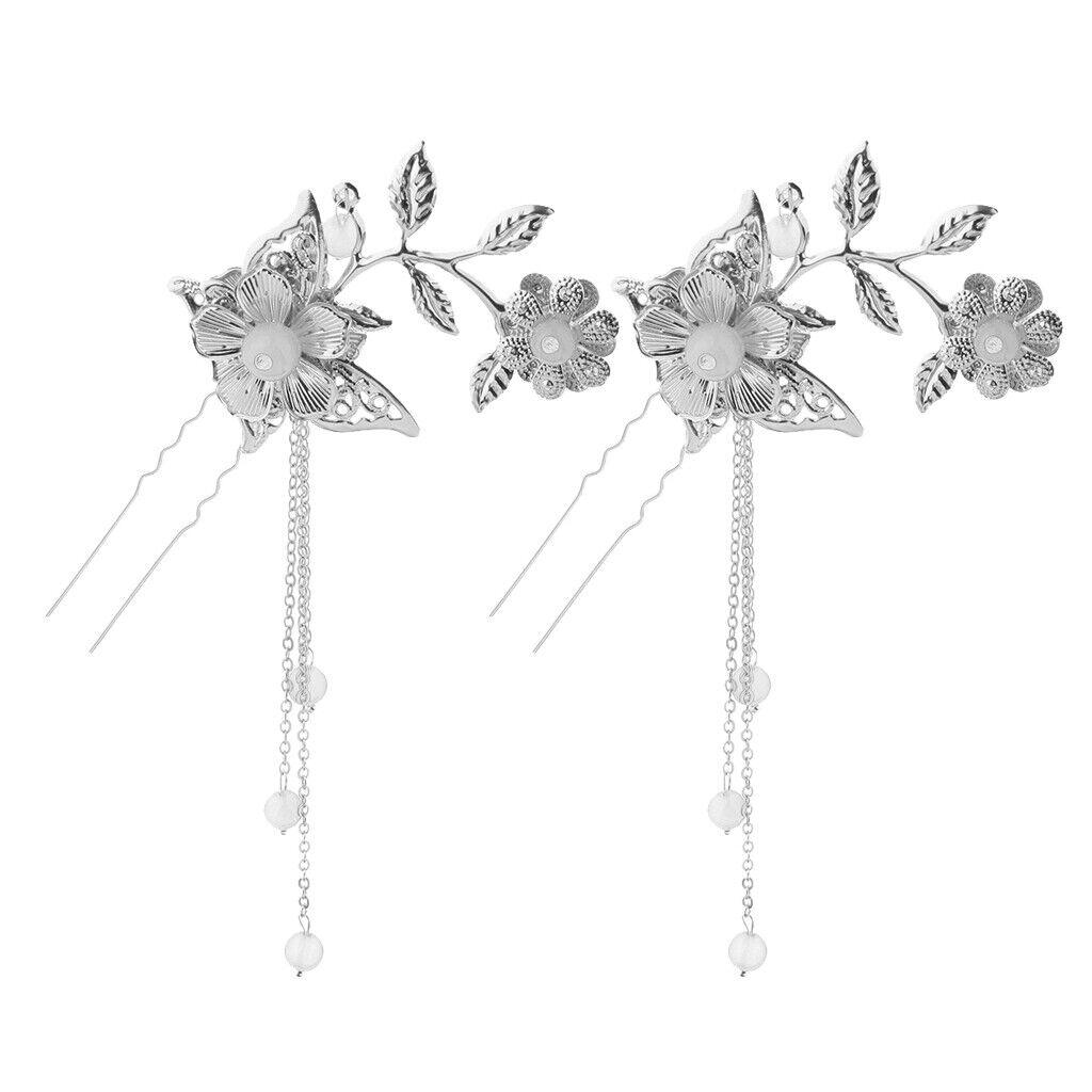 2pcs Ancient Chinese Cosplay Drama Hair Clip U Pin Tassel Flower Bead White