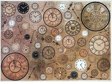 Carta di riso per Decoupage Decopatch Scrapbook Craft Sheet orologi vintage