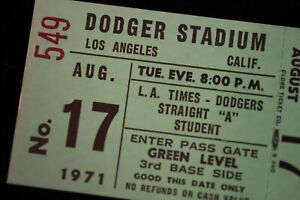 Los Angeles Dodgers Aug 17 1971 TICKET Dodger Stadium New York Mets Nolan Ryan