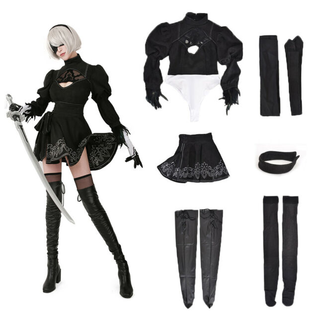 NieR:Automata YoRHa Type A No 2 Cosplay Costume Black Leather Full Set Clothing