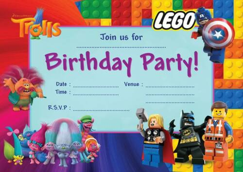 TROLLS LEGO JOINT CHILDRENS BIRTHDAY PARTY INVITATIONS INVITES KIDS BOYS GIRLS