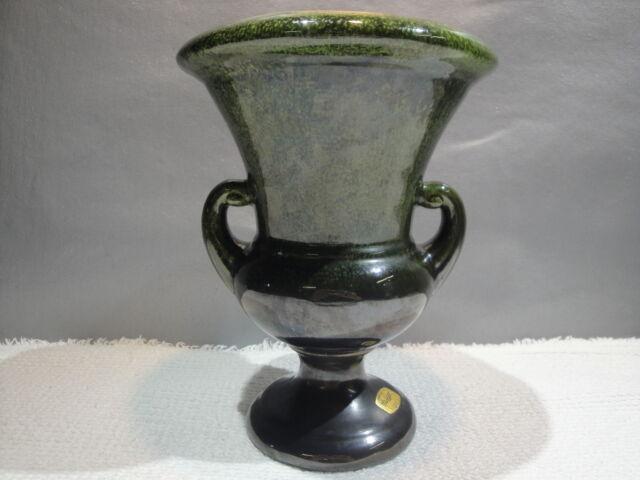 Vintage Art Deco Haeger Pottery Usa Large Vase Green Speckled Drip
