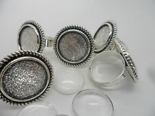 10 x 20mm~Retro Adjustable ring pad bases & 16mm Cabochons~Ring Making Kit bulk