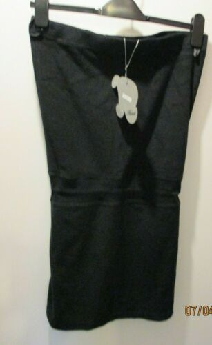 HOOCH Black Stretch Towelling Boob Tube Strapless Beach Mini Dress Size 12