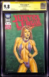JUSTICE-LEAGUE-1-CGC-SS-9-8-SEXY-STARFIRE-ORIGINAL-ART-SKETCH-TEEN-TITANS-RAVEN