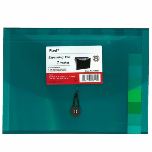 Pixel® A4 Expanding File 7 Pockets Document Organiser Folder with Locking Lid