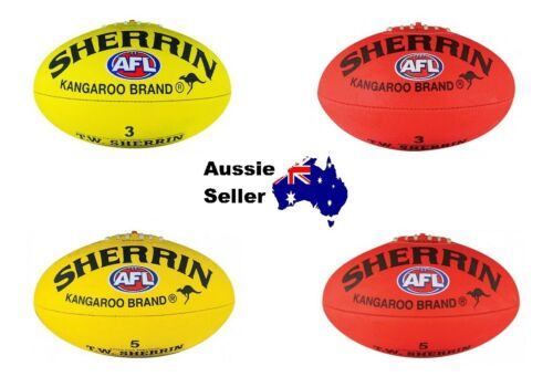 New! Sherrin Synthetic Footy Football Sizes 3 or 5 Red or Yellow KB Brand AFL