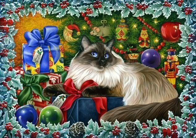 Ragdoll Cat Print Christmas Colours by I Garmashova