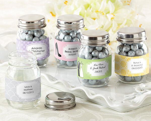 132 Blank Mini Glass Mason Jar Baby Birthday Wedding Favor (Personalized Option)