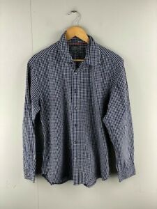 Sportscraft-Mens-Blue-Check-Tapered-Fit-Long-Sleeve-Button-Up-Shirt-Size-Medium