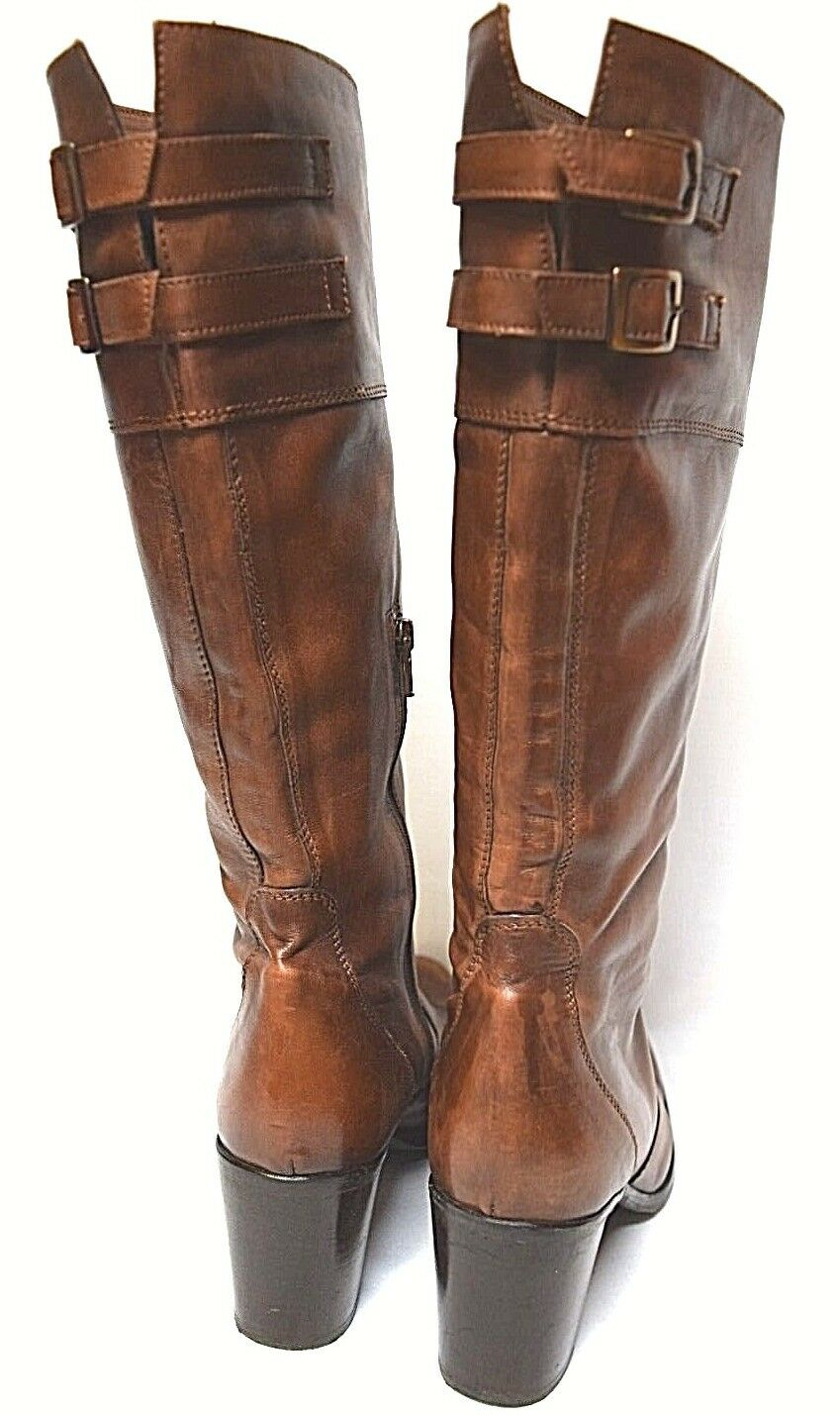 Italian / Leather Boots sz 10 / Italian 41 PROGETTO Vintage-look Knee-High Cognac AS NEW! 7dd3e9