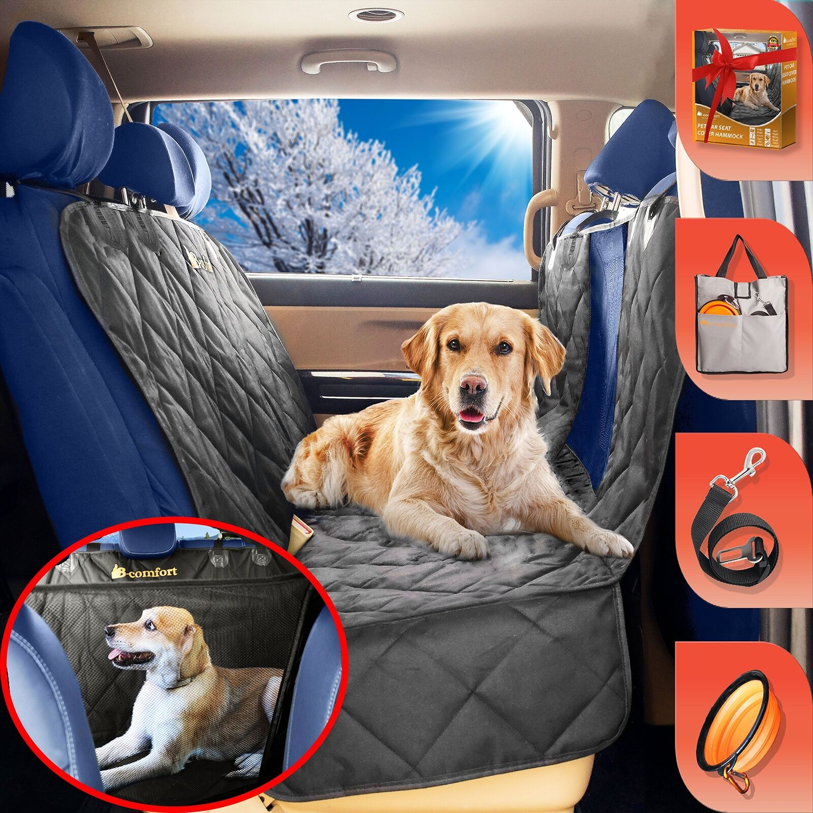 B-comfort Pet Car Seat Cover for Dogs-Unique Clear View Window-Large Luxury