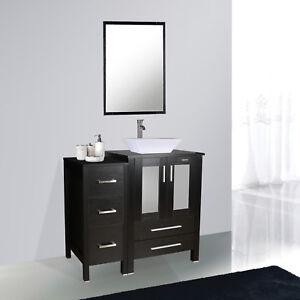 Black Bathroom Vanity 36 Inch Set White Ceramic Sink Faucet Small Side Table Ebay