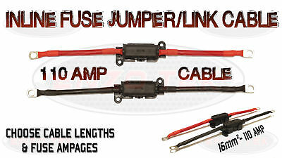 110 Amp Jumper Lead Cable With Built In Inline Fuse Box Charged Live Positive Up-To-Date-Styling