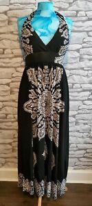 ELISSA-Sleeveless-Halter-Neck-Maxi-Dress-BLACK-size-M-10-12-uk-new-with-tags