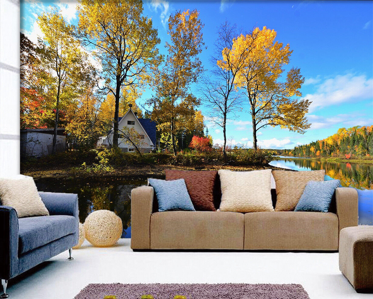3D River Tree Sky 59 Wallpaper Murals Wall Print Wallpaper Mural AJ WALLPAPER UK