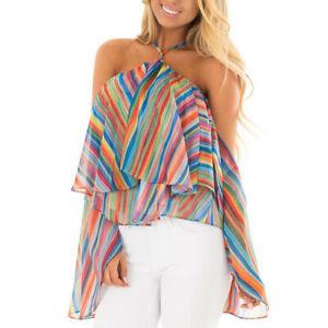 New-Women-Rainbow-Stripe-Print-Shirt-Cold-Shoulder-Casual-Blouse-Ruffle-Fold-Top