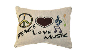 Peace Love & Music Tapestry Decorative Throw Pillow , Music Notes, Heart, NEW