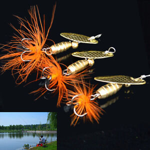 5-5g-Fishing-Lure-Spoon-Bait-ideal-for-Bass-Trout-Perch-pike-rotating-Fishing-DD