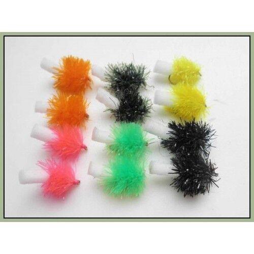 Size 10 Fly Fishing Foam Ass Blob Trout Fishing Flies,12 Pack Mixed Colour