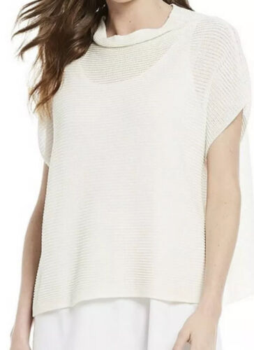 Details about  /Eileen Fisher Ivory Funnel Neck Box Top Xxx//Xs