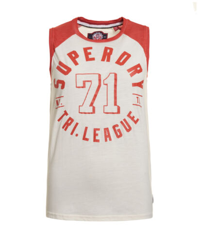 New Womens Superdry Factory Second Tri League Baseball Vest Top Off White//Red