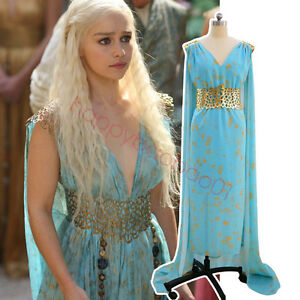 Game Of Thrones Daenery Targaryen Qarth Dress Halloween Party Cosplay Costume @