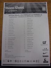 25/01/2012 Aston Villa Youth U19 v Marseille Youth U19  (Single Sheet). Item in