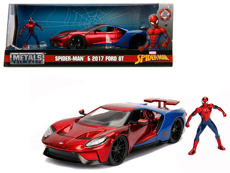 2017 2017 2017 Ford GT with Spider Man Diecast Figure Marvel Series 1 24 Diecast Model Car 9e4838