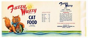 VINTAGE CAN LABEL CAT FOOD 1950S GENUINE PET FUZZY WUZZY ATE A FISH LUBEC MAINE