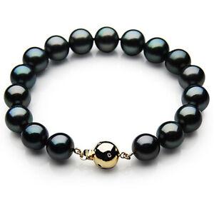 9-11mm-Tahitian-Black-Pearl-Diamond-Gold-Bracelet-Pacific-Pearls-Birthday-Gifts