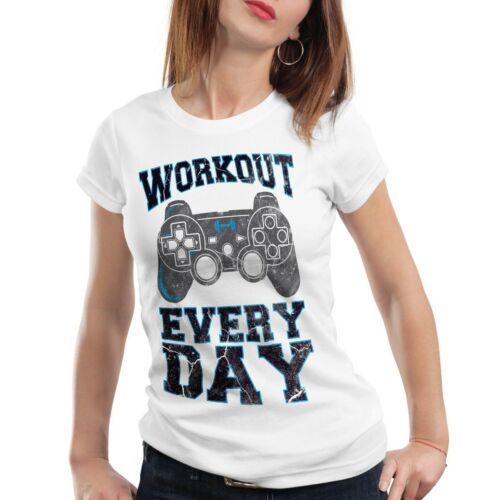Workout Gamer Damen T-Shirt play sport station kontroller konsole gym game fun