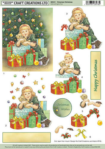 CRAFT CREATION DECOUPAGE NON DIE CUT  VICTORIAN CHRISTMAS FOR CARDS /& CRAFT