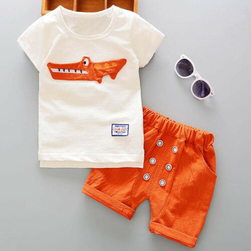 Toddler Kid Baby Boy Outfits Clothes Cartoon Print T-shirt Tops+Shorts Pants Set