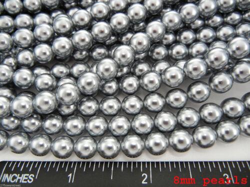 Gris Argent Nacre Pearl 2-3-4-6-8-10mm Tchèque Ronde en Verre Imitation Loose Perles