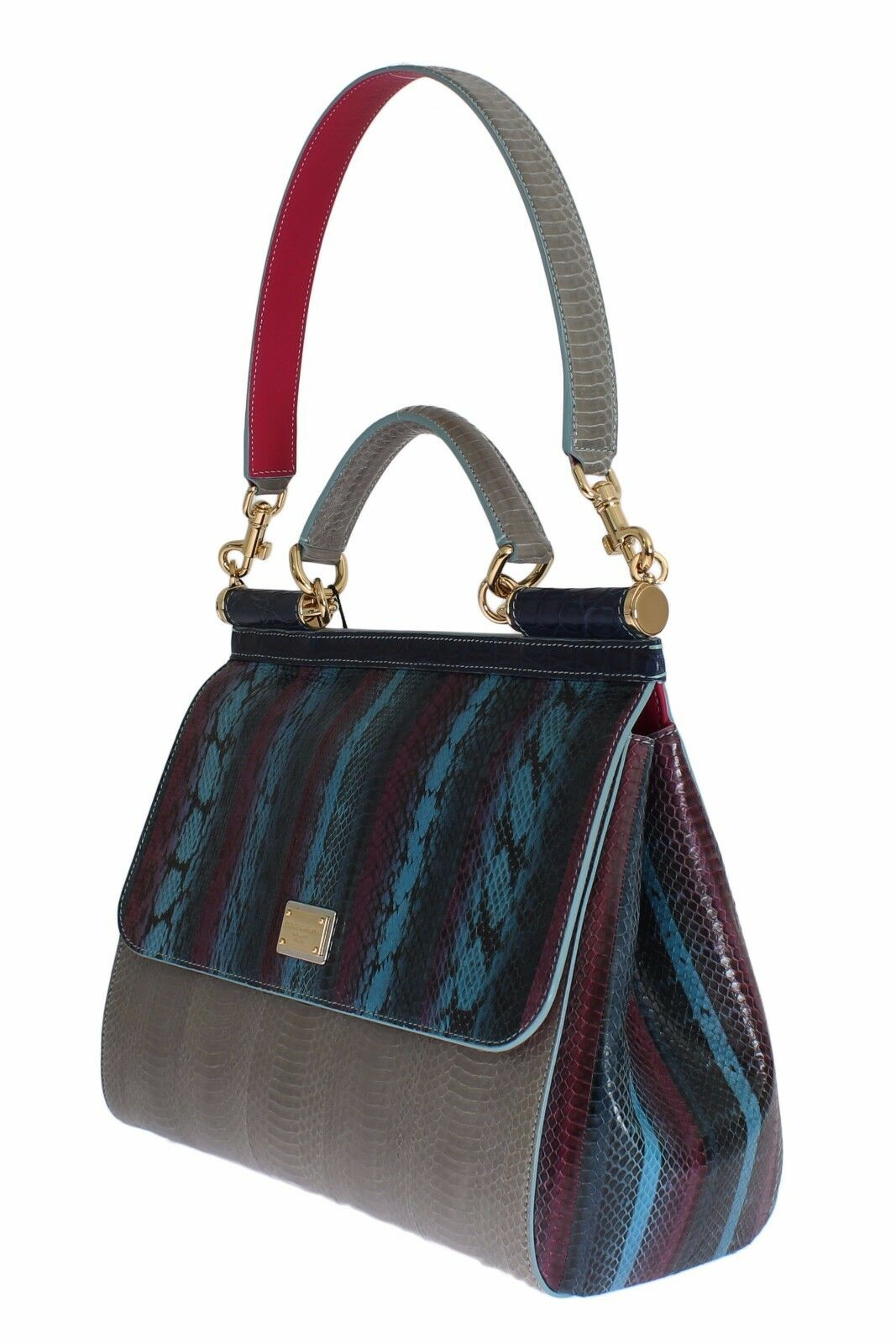 1be72d6b008 Dolce   Gabbana Multicolor Caiman Snakeskin Leather Sicily Hand Bag ...
