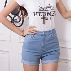 Womens-Jeans-Summer-High-Waist-Stretch-Denim-Shorts-Slim-Casual-WA