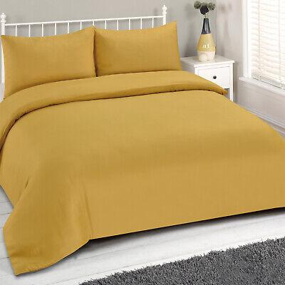 Brentfords Mustard Duvet Cover And Pillowcase Bedding Set Plain Dye Ochre Yellow Ebay