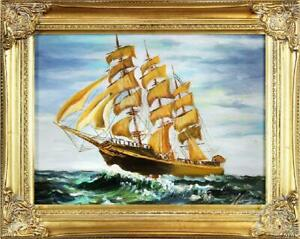 Painting-Oil-Painting-Picture-Oil-Frame-Pictures-Sea-Ships-Oil-Painting-G16278