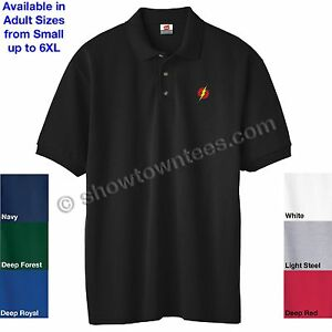 A imagem está carregando O-Flash-Logotipo-Bordado-Camisa-Polo-Adulto-Em- 62cdec2d27620